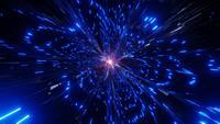 Gloeiende blauwe neonlichtstralen sprankelende deeltjes wormgat