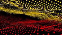 Futuristic abstract red yellow waveform dimension ball
