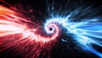 Blaue und rote Lichtfackeln