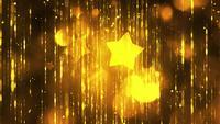 Gelbe Sterne mit Partikeln im schwarzen Hintergrund