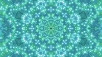 DJ loop 3d illustration with star shape kaleidoscope in green