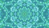 Ilustración 3d de bucle de DJ con caleidoscopio de forma de estrella en verde