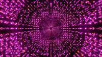 Ilustración 3d de VJ loop con partículas de cubos de neón brillantes