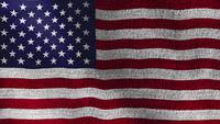 Textura de tecido jeans com bandeira americana dos EUA acenando