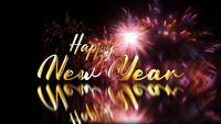 Feliz año nuevo reflejo de evento festivo de fuegos artificiales dorados