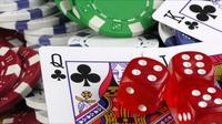Red Dice and Poker Cards