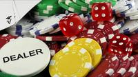 Red Dice, a Dealer Written, and Gambling Chips