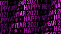 Gelukkig Nieuwjaar 2021 paarse cilindrische tekstmuur