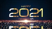 Frohes Neues Jahr 2021 mit glitzernden Partikeln