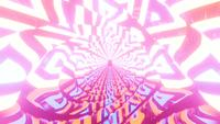 Glowing textured tunnel fly through 3d illustration vj loop