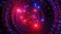 Cor brilhante mudando as partículas do túnel espacial ilustração 3D