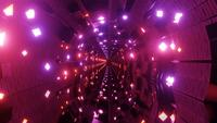 Tunnel with glowing bright colorful neon lights 3d illustration vj loop