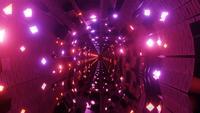 Túnel com luzes de néon coloridas brilhantes e ilustração 3D loop vj