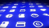 Sociale media en technologie pictogrammen achtergrond lus