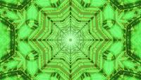 Green star tunnel kaleidoscope motion design 3d illustration dj loop