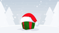 Red Santa Claus hat with snow fall