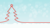 Röd julgran med snödroppe