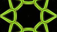 Caleidoscopio de estrella abstracto amarillo parpadeante 3d ilustración vj lazo