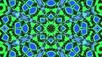 Blinking blue and green kaleidoscope mandala 3d illustration vj loop
