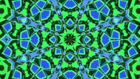 Parpadeo mandala caleidoscopio azul y verde 3d ilustración vj lazo