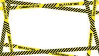 Quadro de fita de aviso de quarentena amarela com lugar para texto.