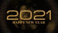 2021 Feliz Ano Novo Golden Shimmering Particles