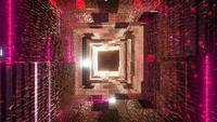 Túnel de nave espacial de luces de neón rojo fresco