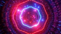 Glowing Neon Lights Particles Space Tunnel
