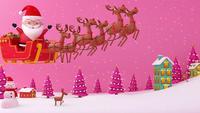 Weihnachtsmann glücklich auf seinem Schlitten