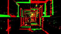 Túnel de efeitos de cores piscando em verde e vermelho