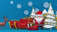 Weihnachtsmann, ein Rentier, der Schlitten