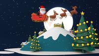 Père Noël dans le ciel avec la nuit de la lune.