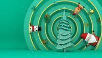Weihnachtsbaum auf einem verzierten Kreis