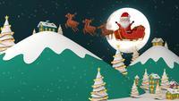 Weihnachtsmann fliegt über ein Dorf und Berge
