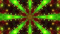 Lazo de vj de ilustración 3d de caleidoscopio verde rojo parpadeante