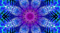 Boucle de vj illustration 3d tunnel bleu et rose en forme d'étoile clignotante
