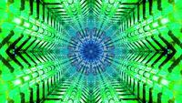 Boucle de vj illustration 3d en forme d'étoile verte et bleue clignotante