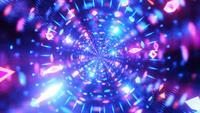 Glowing neon lines reflection tunnel 3d illustration vj loop