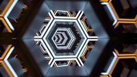 Luces de neón de túnel hexagonal futurista y animación de bucle de movimiento