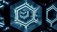 Futuristische Hex-Tunnel-Neonlichter und Motion-Loop-Animation