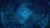 Unendliches digitales Hellblau mit nahtloser Schleife des Kreistunnels