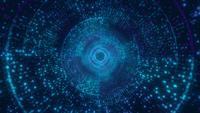 Infinite digital light blue with circle tunnel seamless loop