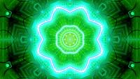 Green yellow blinking star kaleidoscope 3d illustration vj loop