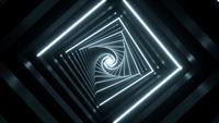 Bewegung fliegt durch glühende rotierende Neonquadrate Tunnelschleife