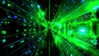 Blinkande glödande utrymme partiklar tunnel vj loop för illustration 3d