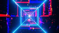 Colorful highly abstract neon tunnel lines 3d illustration visual vj loop