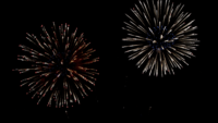 Many flashing colorful fireworks in event amazing with black background.