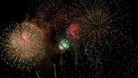 Muchos fuegos artificiales en el evento increíble con fondo negro.