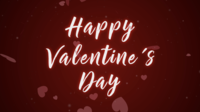 Happy valentines day on red background and animation heart shape.